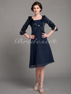 A-line Satin And Chiffon Knee-length Spaghetti Strap Mother Of The Bride Dress