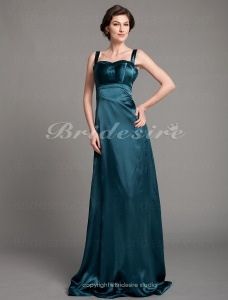 Empire Stretch Satin Floor-length Spaghetti Straps Bridesmaid/ Wedding Party Dress
