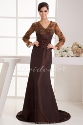 A-line V-neck Floor-length Sweep Train Long Sleeve Satin Dress
