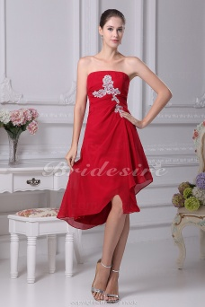 A-line Strapless Asymmetrical Knee-length Sleeveless Chiffon Dress