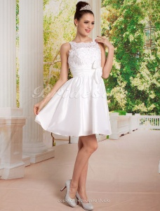 A-line Short/ Mini Taffeta Scoop Wedding Dress