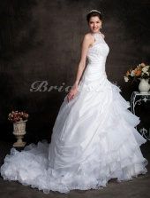 Ball Gown Chapel Train Organza Tiered High Neck Wedding Gown