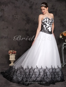 Ball Grown Lace Cathedral Train Strapless Wedding Dress