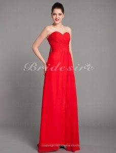 Sheath/ Column Chiffon Over Stretch Satin Watteau Train Sweetheart Evening Dress