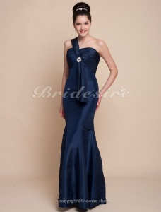 Trumpet/ Mermaid Taffeta Floor-length One Shoulder Bridesmaid Dress