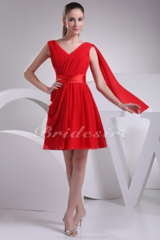A-line V-neck Short/Mini Sleeveless Chiffon Satin Dress