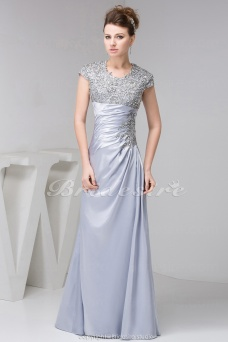 A-line Scoop Floor-length Short Sleeve Satin Dress
