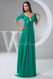 A-line V-neck Floor-length Short Sleeve Chiffon Dress