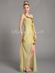 Sheath/Column Chiffon And Tulle Short/Mini One Shoulder Cocktail Dresses