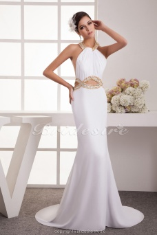Trumpet/Mermaid Halter Floor-length Court Train Sleeveless Chiffon Dress