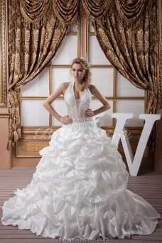 Ball Gown Halter Floor-length Sleeveless Taffeta Wedding Dress