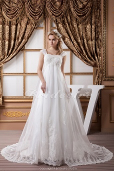 A-line Square Floor-length Court Train Short Sleeve Chiffon Wedding Dress