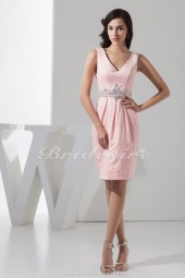 Sheath/Column V-neck Short/Mini Sleeveless Lace Dress