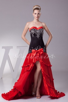 A-line Sweetheart Sweep Train Sleeveless Satin Taffeta Dress