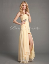 A-line Chiffon Sweep/Brush Train One-Shoulder Evening Dress