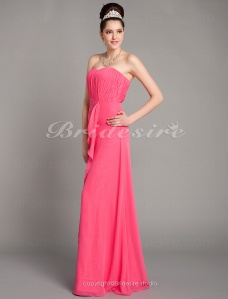Sheath/ Column Floor-length Strapless Chiffon Over Mading Draped Bridesmaid/ Wedding Party Dress