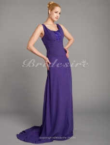A-line Chiffon Sweep/ Brush Train Straps Evening Dress
