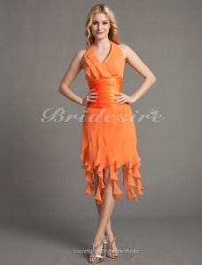 Sheath/Column Beautiful Halter V-neck Chiffon Stretch Satin Asymmetrical Cocktail Dresses