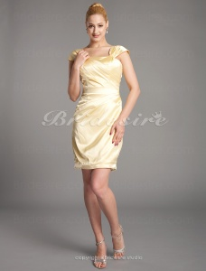 Sheath/ Column Stretch Satin Knee-length Square Cocktail Dress inspired by Jennifer Westfeldt at Emmy Award