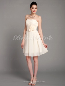 A-line Chiffon Knee-length Sweetheart Cocktail Dress With Flowers