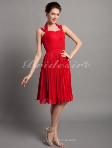 A-line Knee-length Chiffon Halter Mother of the Bride Dress