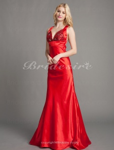 A-line Satin Sweep Train V-neck Evening Dress