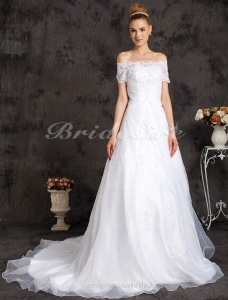 Ball Gown Organza Chapel Train Off-the-shoulder Wedding Dress