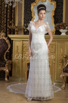 Sheath/Column Spaghetti Straps Floor-length Watteau Train Short Sleeve Lace Satin Wedding Dress