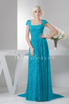 A-line Square Floor-length Sweep Train Short Sleeve Satin Dress