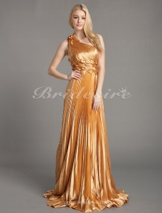 A-line Stretch Satin One Shoulder Sweep/ Brush Train Empire Evening Dress