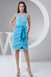 Sheath/Column Halter Knee-length Sleeveless Chiffon Dress