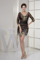 Sheath/Column V-neck Short/Mini 3/4 Length Sleeve Chiffon Satin Dress