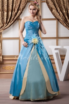A-line Sweetheart Floor-length Sleeveless Satin Dress