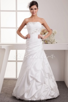 A-line Strapless Floor-length Sleeveless Satin Wedding Dress
