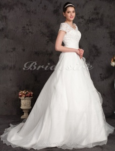 Ball Gown Plus Size Organza Chapel Train Off-the-shoulder Wedding Dress