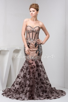 Trumpet/Mermaid Sweetheart Sweep Train Sleeveless Satin Organza Dress