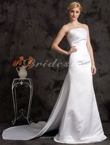 Mermaid/Trumpet Satin Court Train Strapless Wedding Dress