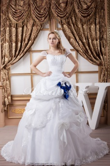 Princess Square Floor-length Court Train Short Sleeve Satin Chiffon Organza Wedding Dress