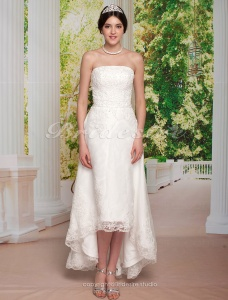 Sheath/ Column Tulle Over Satin Asymetrical Strapless Wedding Dress