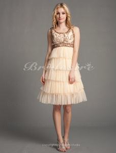 A-line Tulle Chiffon Short/ Mini Square Cocktail Dress