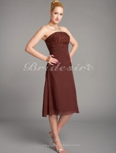 Sheath/Column Chiffon Tea-length Spaghetti Straps Mother of the Bride Dress With Embroidery