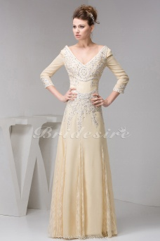 A-line V-neck Floor-length 3/4 Length Sleeve Chiffon Dress