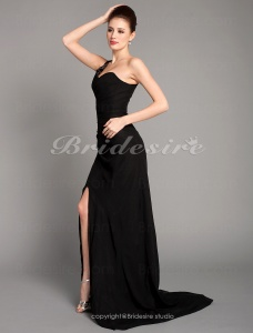 Column Chiffon Over Stretch Satin Sweep Train One Shoulder Evening Dress inspired by Jennifer Aniston at Golden Globe