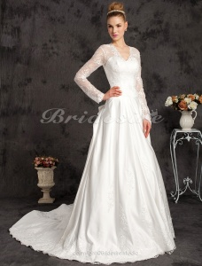 A-line Satin And Satin Lace Chapel Train V-neck Wedding Dress Inspired By Kate Middleton