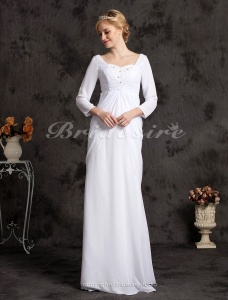Sheath/ Column Chiffon Floor-length Sweetheart Wedding Dress