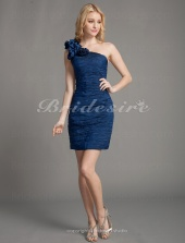 Sheath/Column Taffeta Short/Mini One Shoulder Cocktail Dress