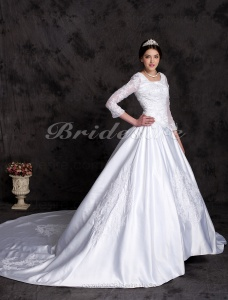 Ball Gown Luxury Cathedral Train Long Sleeves Wedding Dress With Beaded Appliques