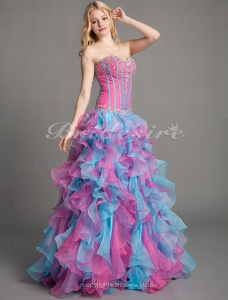 Ball Gown Organza Floor-length Sweetheart Evening Dress With Crystal Detailing And Cascading Ruffles
