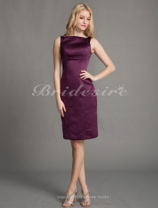 Sheath/ Column Satin Knee-length Bateau Bridesmaid/ Homecoming/ Wedding Party Dress