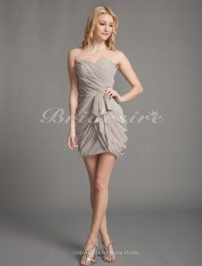 Sheath/ Column Chiffon Short/ Mini Strapless Cocktail Dress